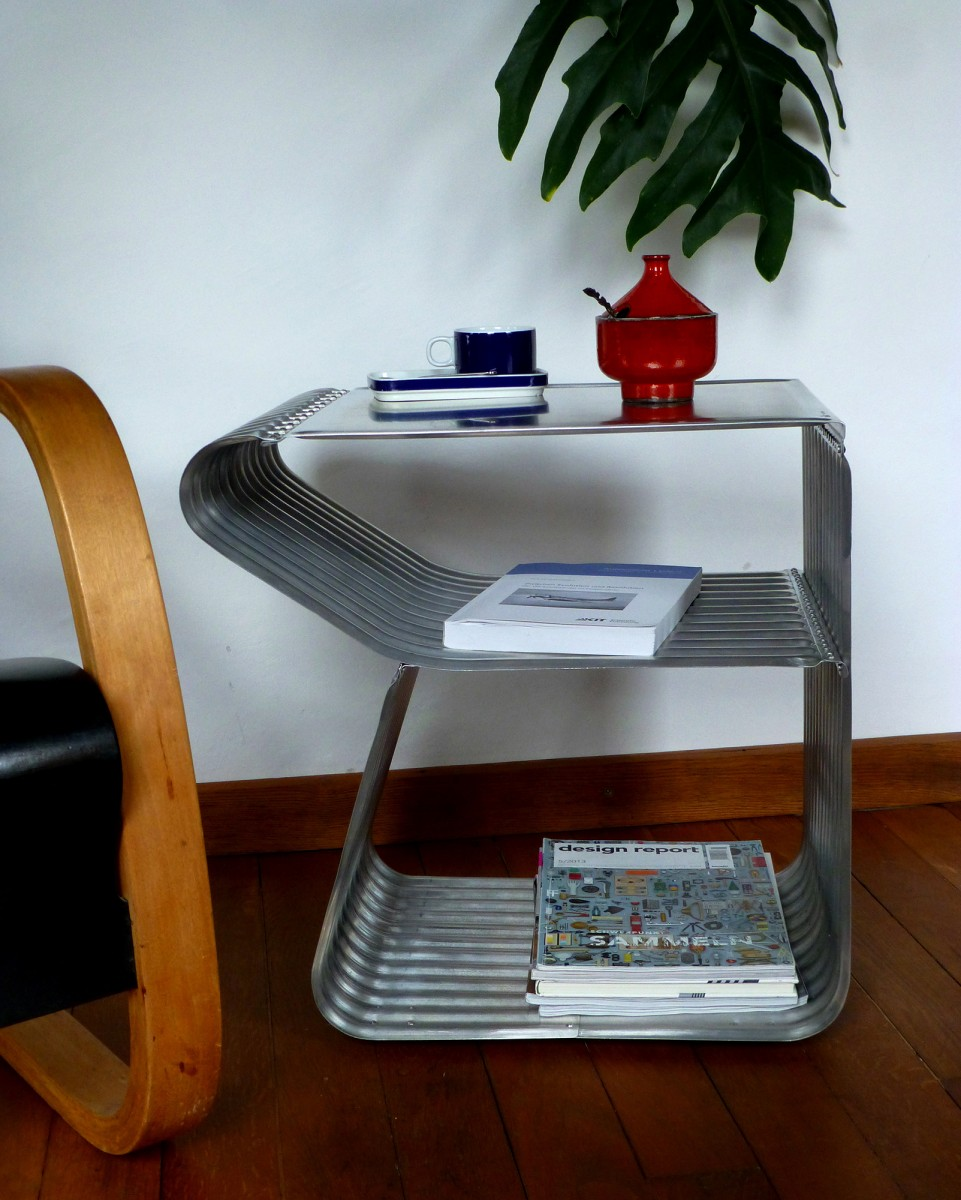 corrugated metal design table